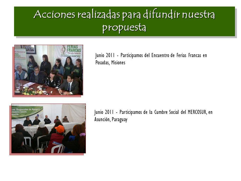 Acciones realizadas para difundir nuestra propuesta Junio 2011 - Participamos del Encuentro de Ferias Francas en Posadas, Misiones Junio 2011 - Participamos de la Cumbre Social del MERCOSUR, en Asunción, Paraguay