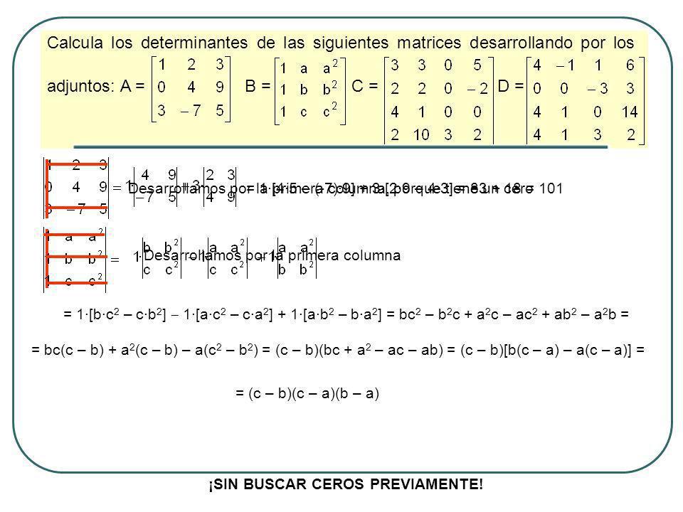 Calcula los determinantes de las siguientes matrices desarrollando por los adjuntos: A = B = C = D = Desarrollamos por la primera columna, porque tien