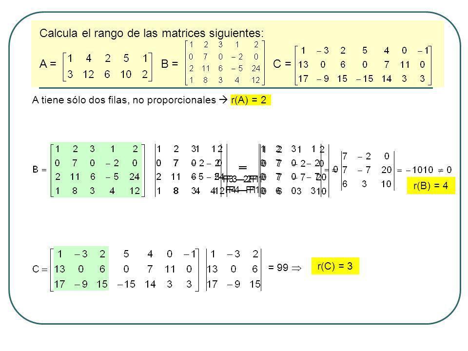 Calcula el rango de las matrices siguientes: A = B = C = A tiene sólo dos filas, no proporcionales r(A) = 2 = F3 – 2F1 F4 – F1 = F3 – 2F1 F4 – F1 r(B)
