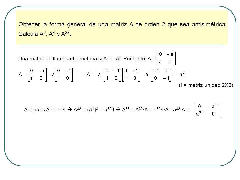 Obtener la forma general de una matriz A de orden 2 que sea antisimétrica. Calcula A 2, A 4 y A 33. Una matriz se llama antisimétrica si A = A t. Por