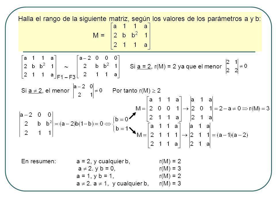 Halla el rango de la siguiente matriz, según los valores de los parámetros a y b: M = Si a = 2, r(M) = 2 ya que el menor Si a 2, el menor F1 – F3 Por