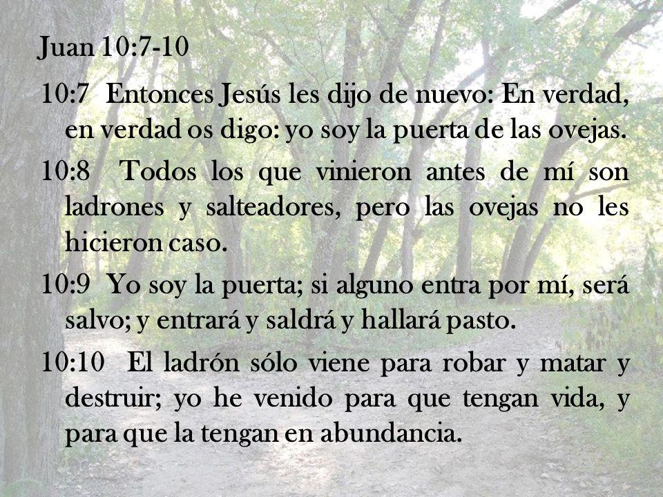 Juan 10:7-10 10:7 Entonces Jesús les dijo de nuevo: En verdad, en verdad os digo: yo soy la puerta de las ovejas. 10:8 Todos los que vinieron antes de
