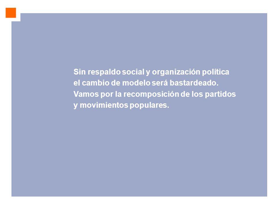 Sin respaldo social y organización política el cambio de modelo será bastardeado.