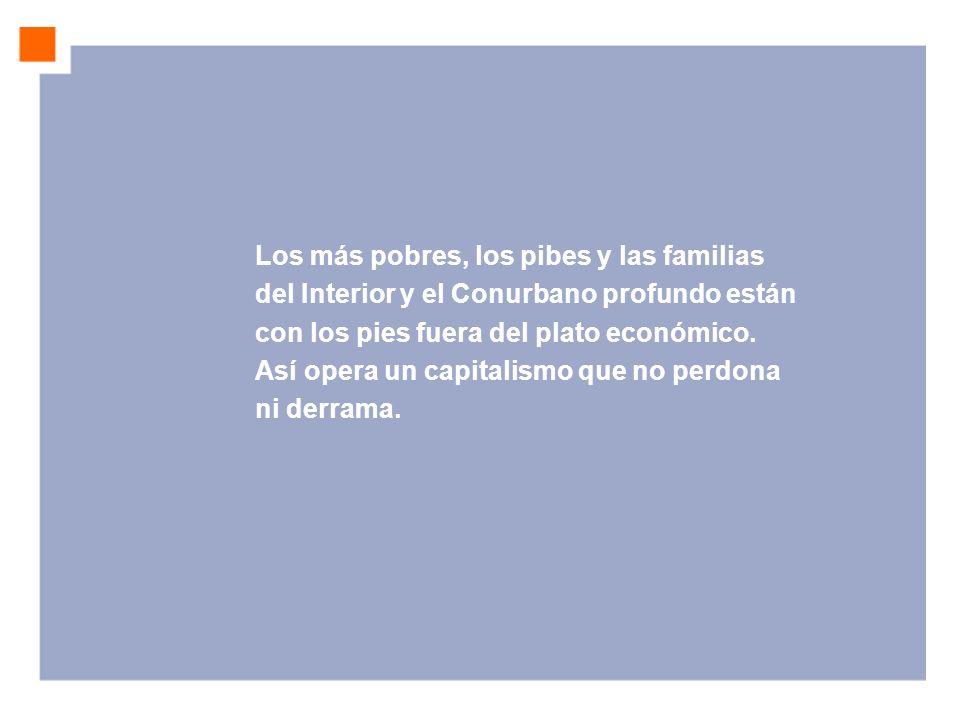 Los más pobres, los pibes y las familias del Interior y el Conurbano profundo están con los pies fuera del plato económico. Así opera un capitalismo q