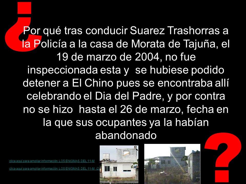 ? ¿ Por qué tras conducir Suarez Trashorras a la Policía a la casa de Morata de Tajuña, el 19 de marzo de 2004, no fue inspeccionada esta y se hubiese podido detener a El Chino pues se encontraba allí celebrando el Dia del Padre, y por contra no se hizo hasta el 26 de marzo, fecha en la que sus ocupantes ya la habían abandonado clica aquí para ampliar información: LOS ENIGMAS DEL 11-M (2)