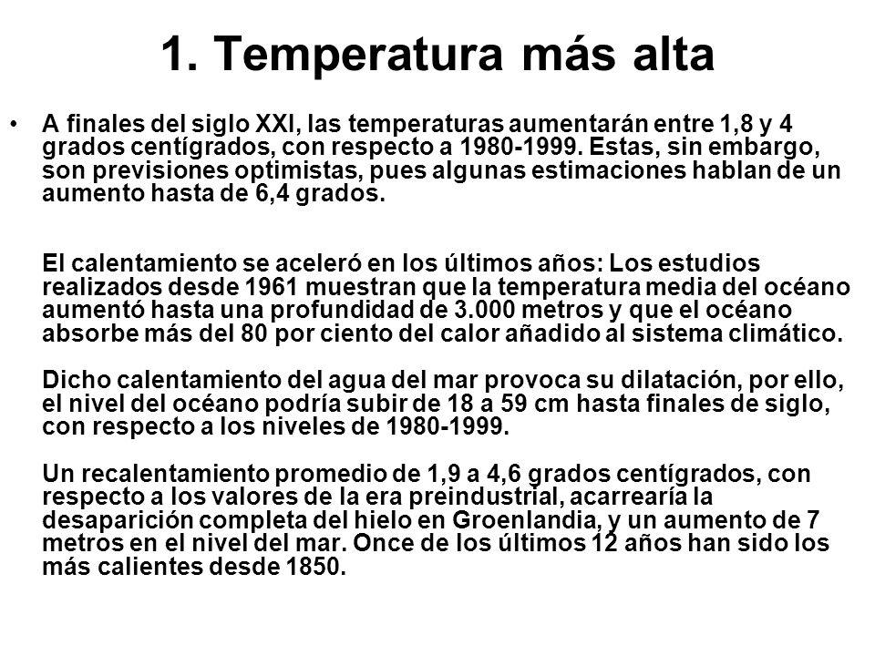 1. Temperatura más alta A finales del siglo XXI, las temperaturas aumentarán entre 1,8 y 4 grados centígrados, con respecto a 1980-1999. Estas, sin em