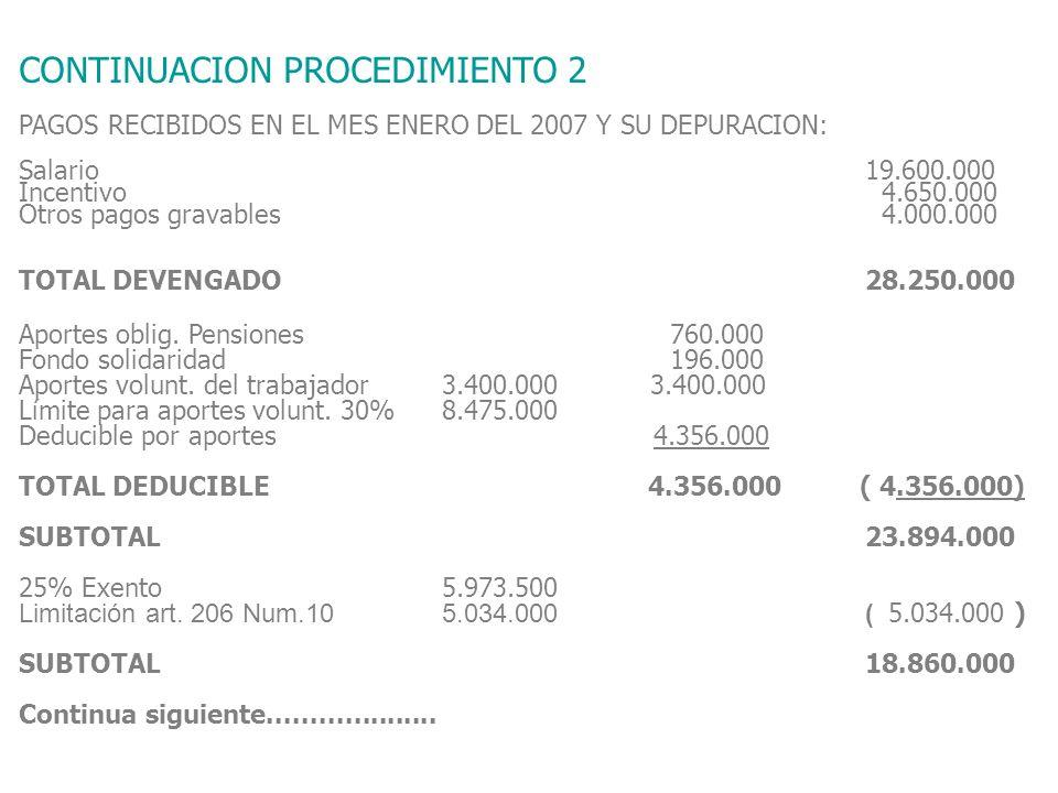 CONTINUACION PROCEDIMIENTO 2 PAGOS RECIBIDOS EN EL MES ENERO DEL 2007 Y SU DEPURACION: Salario19.600.000 Incentivo 4.650.000 Otros pagos gravables 4.000.000 TOTAL DEVENGADO28.250.000 Aportes oblig.