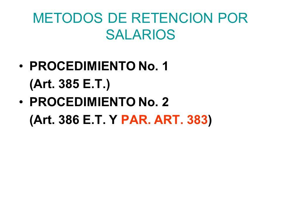 METODOS DE RETENCION POR SALARIOS PROCEDIMIENTO No.