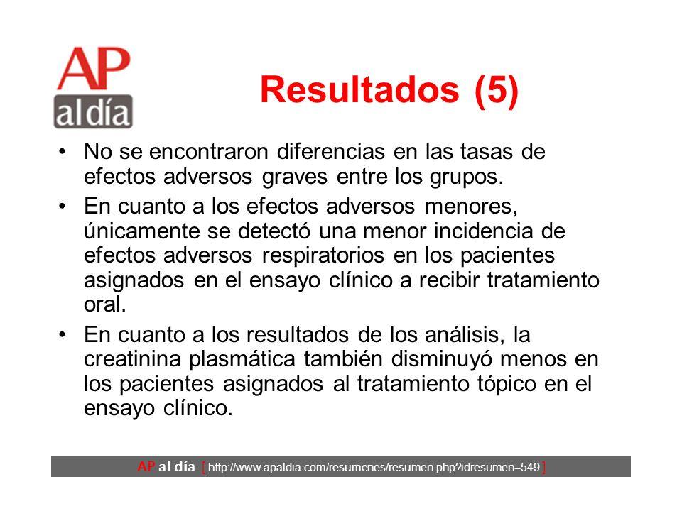 AP al día [ http://www.apaldia.com/resumenes/resumen.php idresumen=549 ] Resultados (4) * Diferencias significativas * Diferencias en la puntuación WOMAC entre los tratamientos oral y tópico.