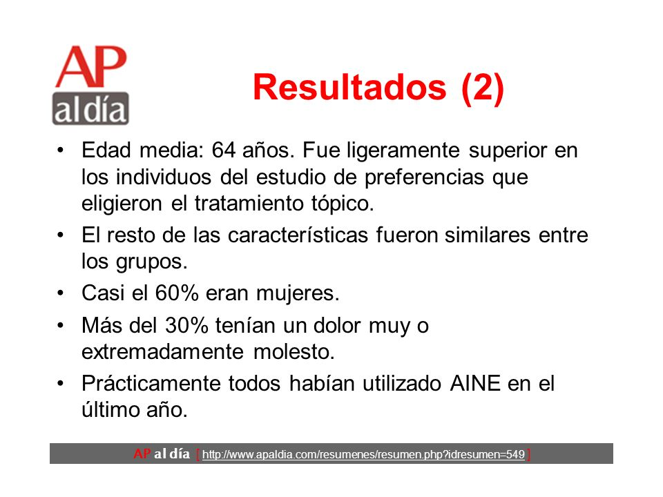 AP al día [ http://www.apaldia.com/resumenes/resumen.php idresumen=549 ] Resultados (1)