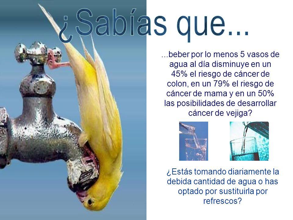 ...beber por lo menos 5 vasos de agua al día disminuye en un 45% el riesgo de cáncer de colon, en un 79% el riesgo de cáncer de mama y en un 50% las p