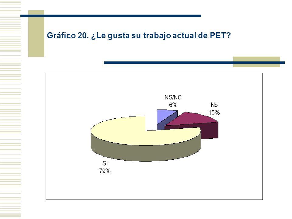 Gráfico 20. ¿Le gusta su trabajo actual de PET?