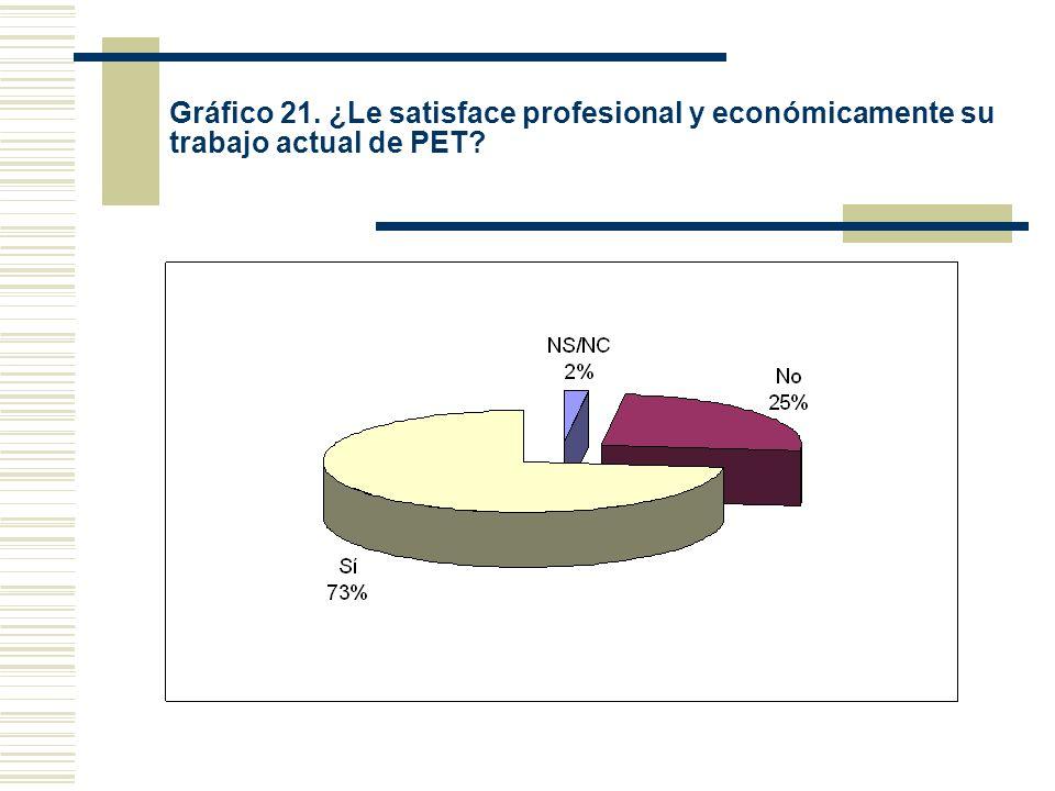 Gráfico 21. ¿Le satisface profesional y económicamente su trabajo actual de PET?