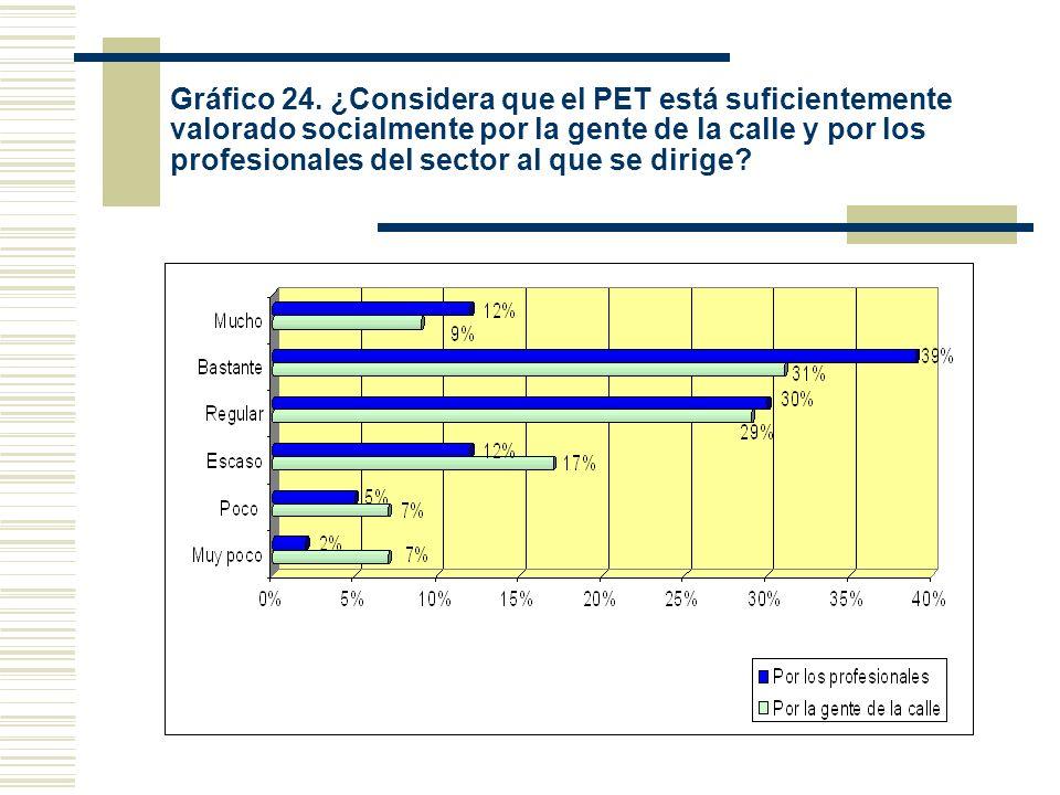 Gráfico 24. ¿Considera que el PET está suficientemente valorado socialmente por la gente de la calle y por los profesionales del sector al que se diri