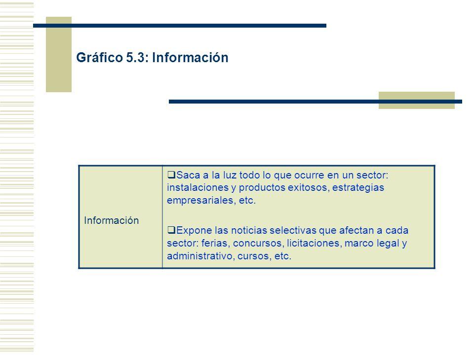Gráfico 5.3: Información Información Saca a la luz todo lo que ocurre en un sector: instalaciones y productos exitosos, estrategias empresariales, etc