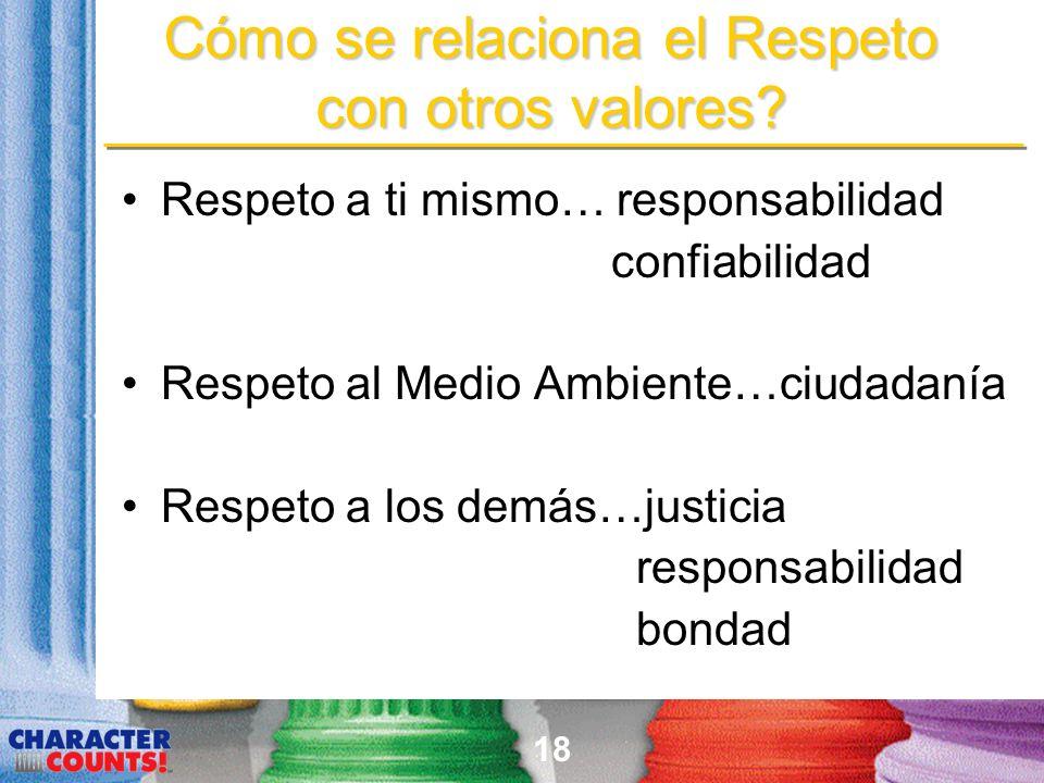 18 Cómo se relaciona el Respeto con otros valores? Respeto a ti mismo… responsabilidad confiabilidad Respeto al Medio Ambiente…ciudadanía Respeto a lo