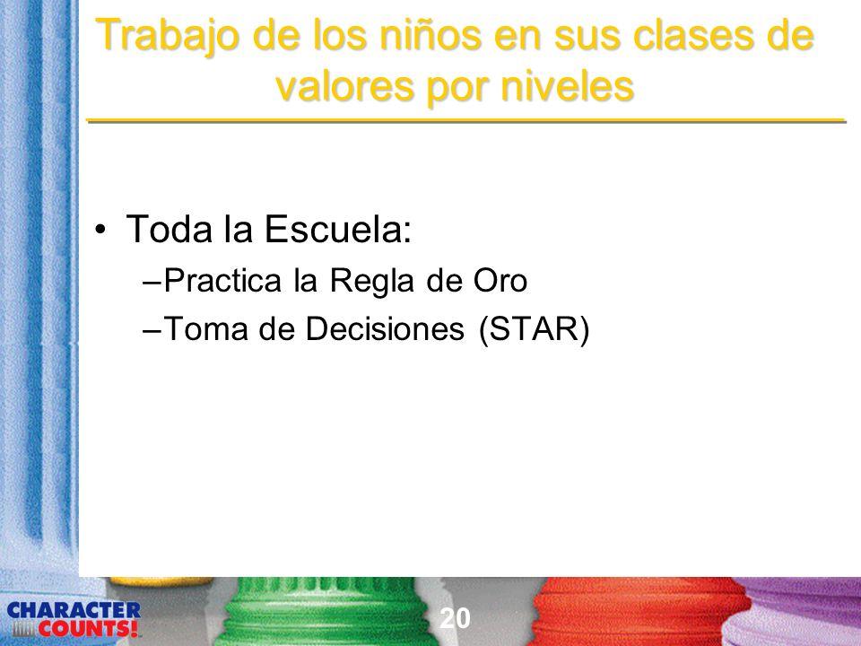 20 Trabajo de los niños en sus clases de valores por niveles Toda la Escuela: –Practica la Regla de Oro –Toma de Decisiones (STAR)