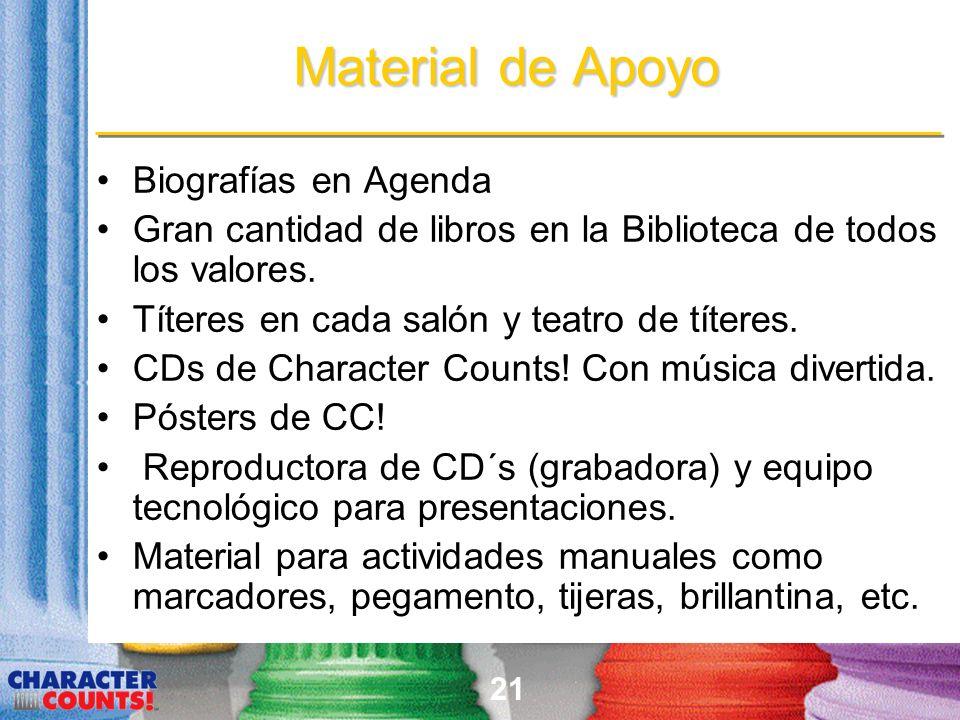 21 Material de Apoyo Biografías en Agenda Gran cantidad de libros en la Biblioteca de todos los valores. Títeres en cada salón y teatro de títeres. CD