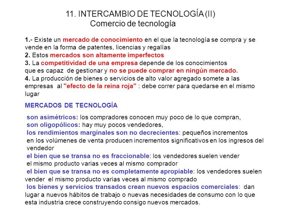 10. INTERCAMBIO DE TECNOLOGÍA (I) Modos para intercambio de conocimientos CONOCIMIENTOS INCORPORADOS: Tecnología contenida en bienes de capital, equip