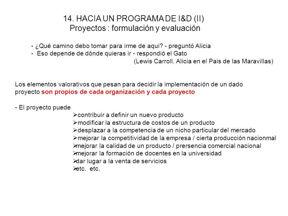 13. HACIA UN PROGRAMA DE I&D (I) Una organización dedicada a I&D dentro de una empresa debe ser capaz de traducir las amenazas de la competencia en un