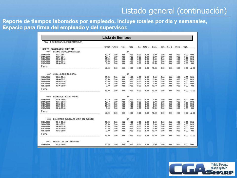 Listado general (continuación) Reporte de tiempos laborados por empleado, incluye totales por día y semanales, Espacio para firma del empleado y del s