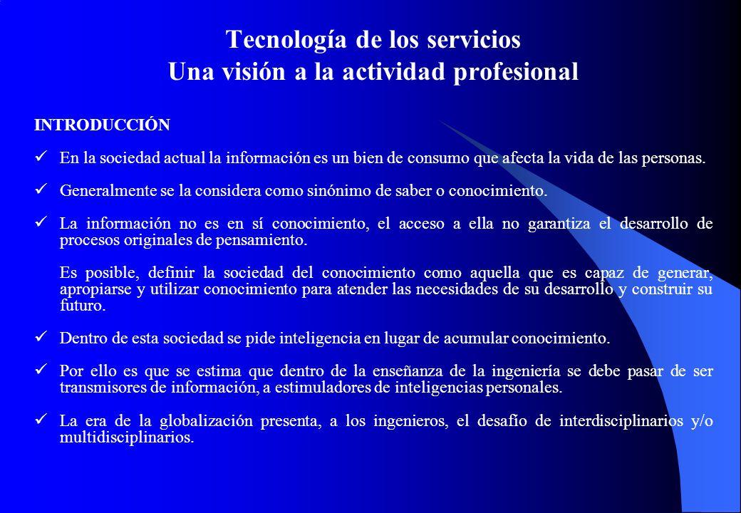 Tecnología de los servicios Una visión a la actividad profesional INTRODUCCIÓN En la sociedad actual la información es un bien de consumo que afecta la vida de las personas.