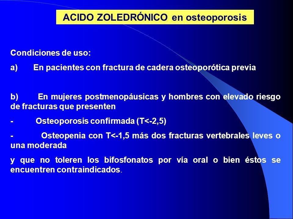 ACIDO ZOLEDRÓNICO en osteoporosis Condiciones de uso: a) En pacientes con fractura de cadera osteoporótica previa b) En mujeres postmenopáusicas y hom