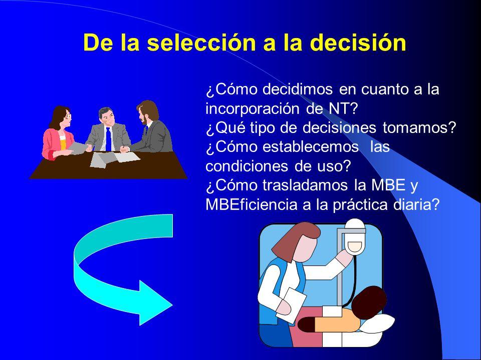 Estandarizar la decisión EFICACIA Mejora importante Uso restringido o selectivo Mejora modestaSimilar Seguridad OK??