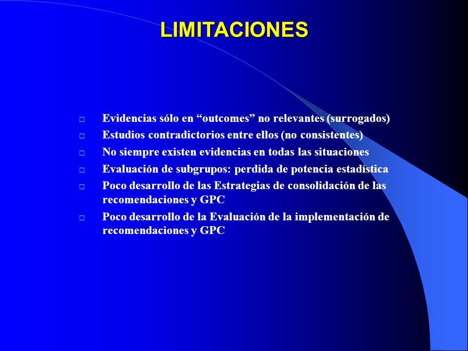 LIMITACIONES Evidencias sólo en outcomes no relevantes (surrogados) Estudios contradictorios entre ellos (no consistentes) No siempre existen evidenci