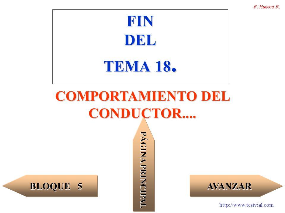 http://www.testvial.com FIN DEL TEMA 18. AVANZAR BLOQUE 5 BLOQUE 5 PÁGINA PRINCIPAL PÁGINA PRINCIPAL COMPORTAMIENTO DEL CONDUCTOR....