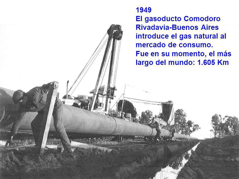 13 1949 El gasoducto Comodoro Rivadavia-Buenos Aires introduce el gas natural al mercado de consumo.