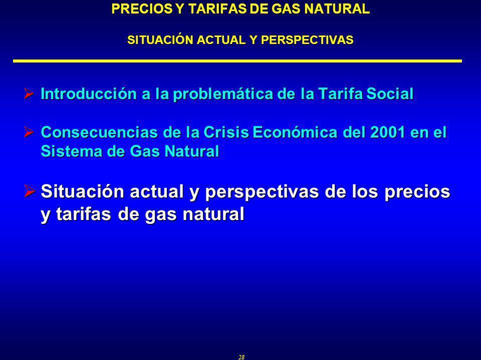 28 PRECIOS Y TARIFAS DE GAS NATURAL SITUACIÓN ACTUAL Y PERSPECTIVAS Introducción a la problemática de la Tarifa Social Introducción a la problemática de la Tarifa Social Consecuencias de la Crisis Económica del 2001 en el Sistema de Gas Natural Consecuencias de la Crisis Económica del 2001 en el Sistema de Gas Natural Situación actual y perspectivas de los precios y tarifas de gas natural Situación actual y perspectivas de los precios y tarifas de gas natural