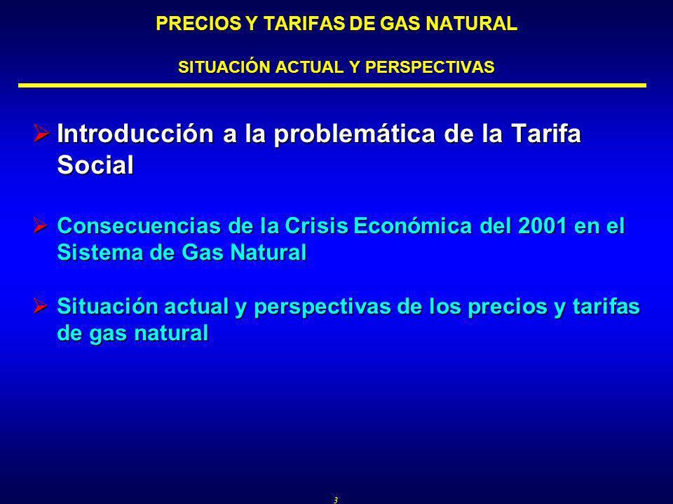 3 PRECIOS Y TARIFAS DE GAS NATURAL SITUACIÓN ACTUAL Y PERSPECTIVAS Introducción a la problemática de la Tarifa Social Introducción a la problemática de la Tarifa Social Consecuencias de la Crisis Económica del 2001 en el Sistema de Gas Natural Consecuencias de la Crisis Económica del 2001 en el Sistema de Gas Natural Situación actual y perspectivas de los precios y tarifas de gas natural Situación actual y perspectivas de los precios y tarifas de gas natural
