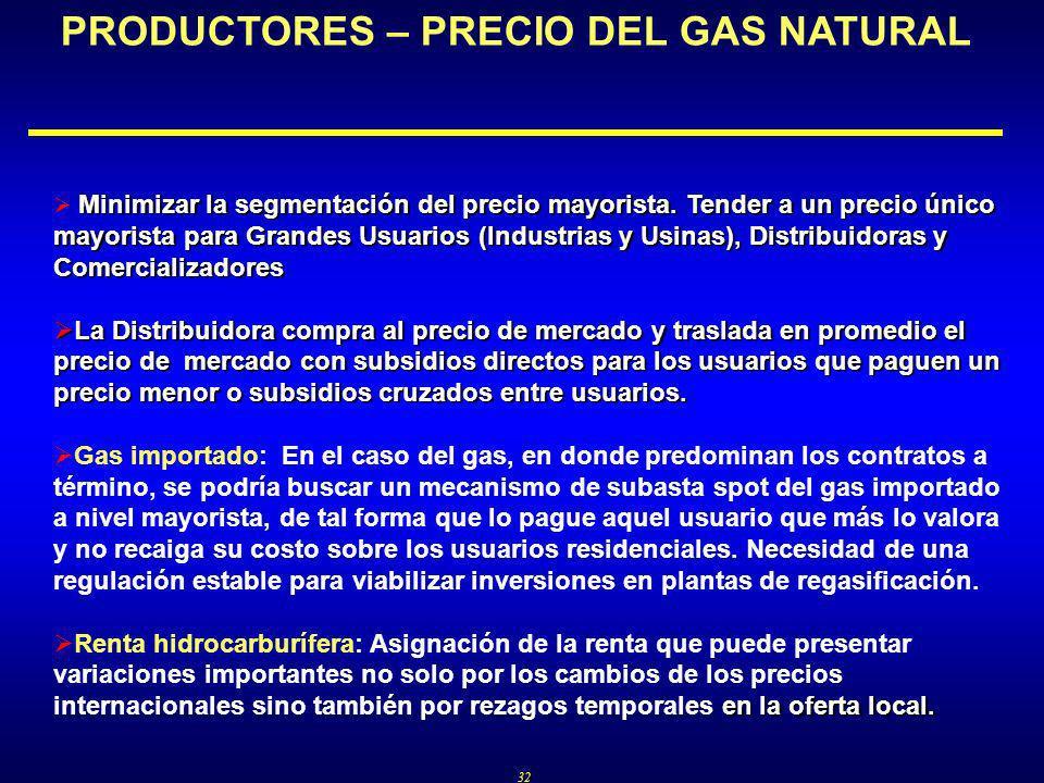 32 PRODUCTORES – PRECIO DEL GAS NATURAL Minimizar la segmentación del precio mayorista.