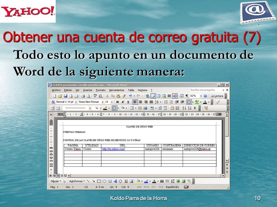 Koldo Parra de la Horra10 Todo esto lo apunto en un documento de Word de la siguiente manera: Todo esto lo apunto en un documento de Word de la siguie