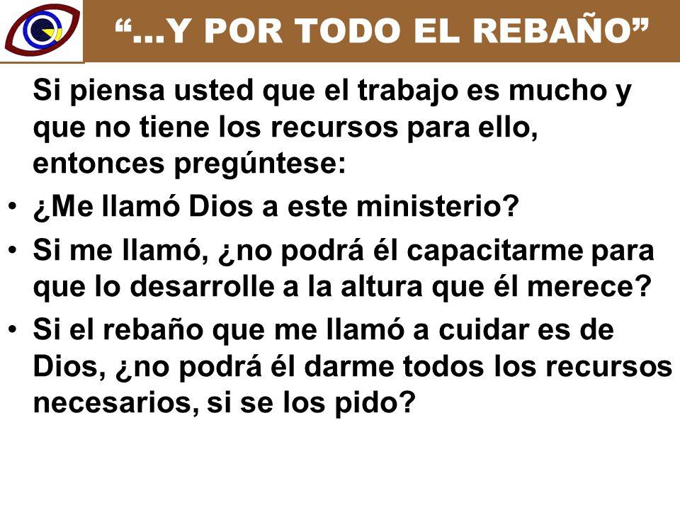 …Y POR TODO EL REBAÑO Si piensa usted que el trabajo es mucho y que no tiene los recursos para ello, entonces pregúntese: ¿Me llamó Dios a este ministerio.