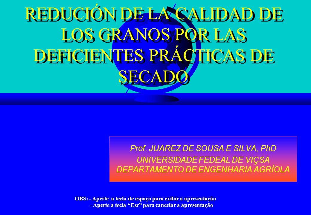 REDUCIÓN DE LA CALIDAD DE LOS GRANOS POR LAS DEFICIENTES PRÁCTICAS DE SECADO Prof. JUAREZ DE SOUSA E SILVA, PhD UNIVERSIDADE FEDEAL DE VIÇSA DEPARTAME