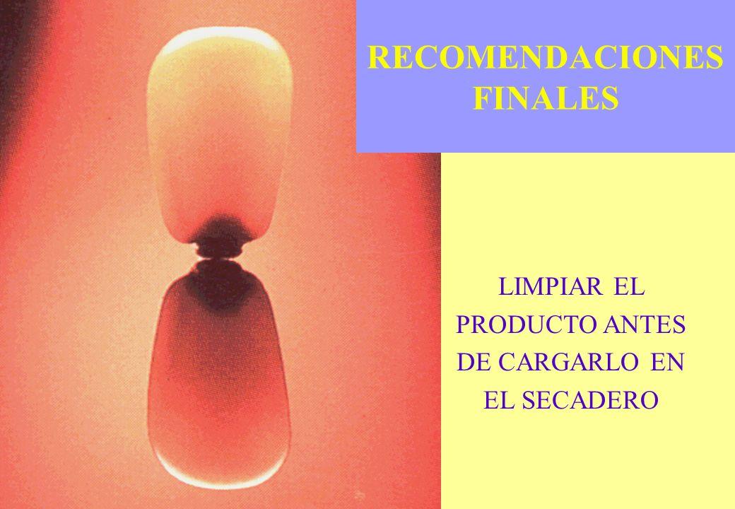 RECOMENDACIONES FINALES LIMPIAR EL PRODUCTO ANTES DE CARGARLO EN EL SECADERO