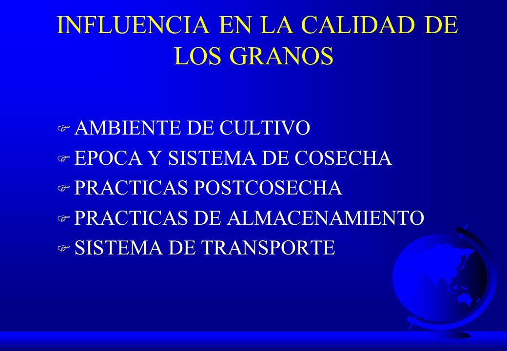 INFLUENCIA EN LA CALIDAD DE LOS GRANOS F AMBIENTE DE CULTIVO F EPOCA Y SISTEMA DE COSECHA F PRACTICAS POSTCOSECHA F PRACTICAS DE ALMACENAMIENTO F SIST