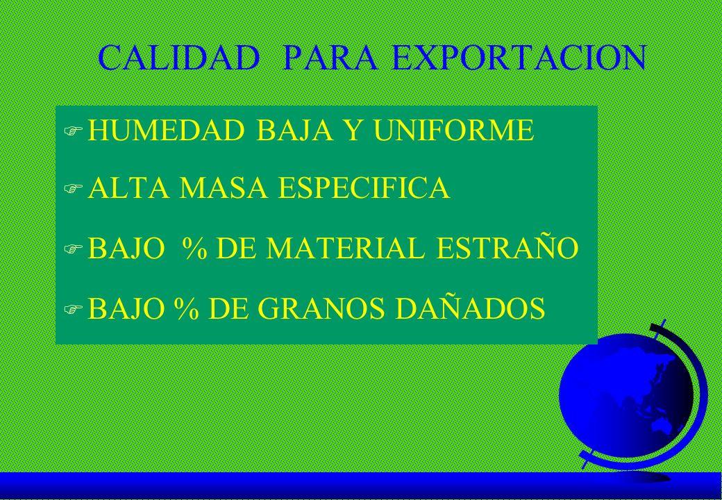 CALIDAD PARA EXPORTACION F HUMEDAD BAJA Y UNIFORME F ALTA MASA ESPECIFICA F BAJO % DE MATERIAL ESTRAÑO F BAJO % DE GRANOS DAÑADOS
