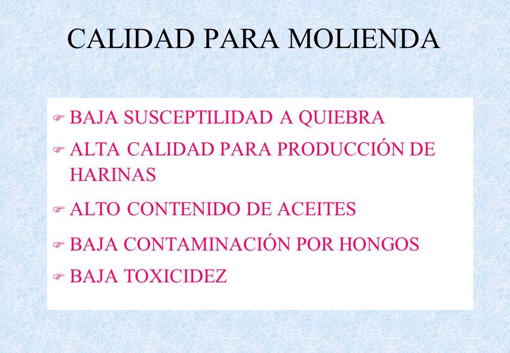 F BAJA SUSCEPTILIDAD A QUIEBRA F ALTA CALIDAD PARA PRODUCCIÓN DE HARINAS F ALTO CONTENIDO DE ACEITES F BAJA CONTAMINACIÓN POR HONGOS F BAJA TOXICIDEZ