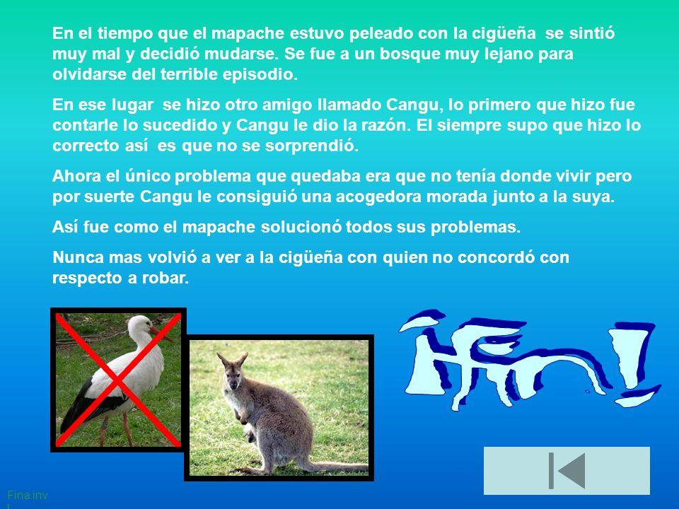 En el tiempo que el mapache estuvo peleado con la cigüeña se sintió muy mal y decidió mudarse.
