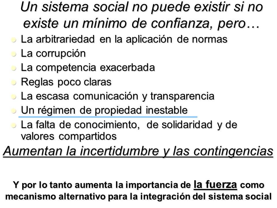 Un sistema social no puede existir si no existe un mínimo de confianza, pero… La arbitrariedad en la aplicación de normas La arbitrariedad en la aplic