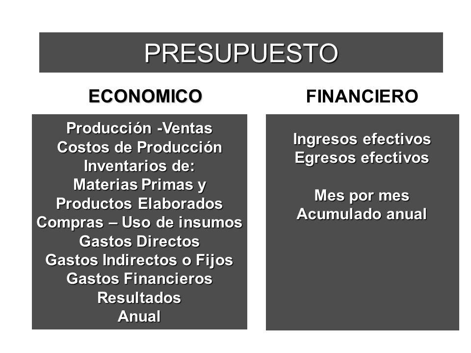 PRESUPUESTO Producción -Ventas Costos de Producción Inventarios de: Materias Primas y Productos Elaborados Compras – Uso de insumos Gastos Directos Ga