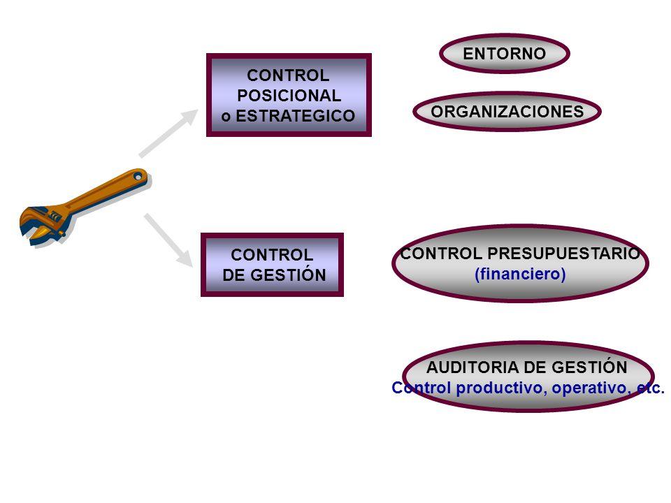 CONTROL POSICIONAL o ESTRATEGICO CONTROL DE GESTIÓN ENTORNO ORGANIZACIONES CONTROL PRESUPUESTARIO (financiero) AUDITORIA DE GESTIÓN Control productivo