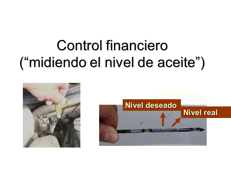 Control financiero (midiendo el nivel de aceite) Nivel deseado Nivel real