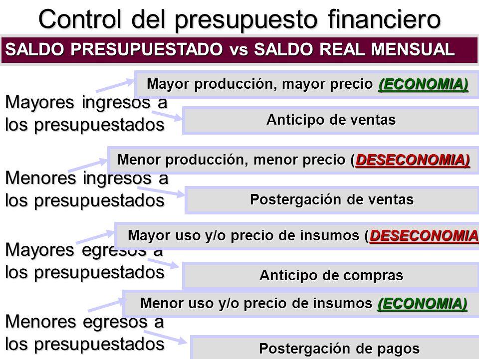Control del presupuesto financiero SALDO PRESUPUESTADO vs SALDO REAL MENSUAL Mayores ingresos a los presupuestados Menores ingresos a los presupuestad