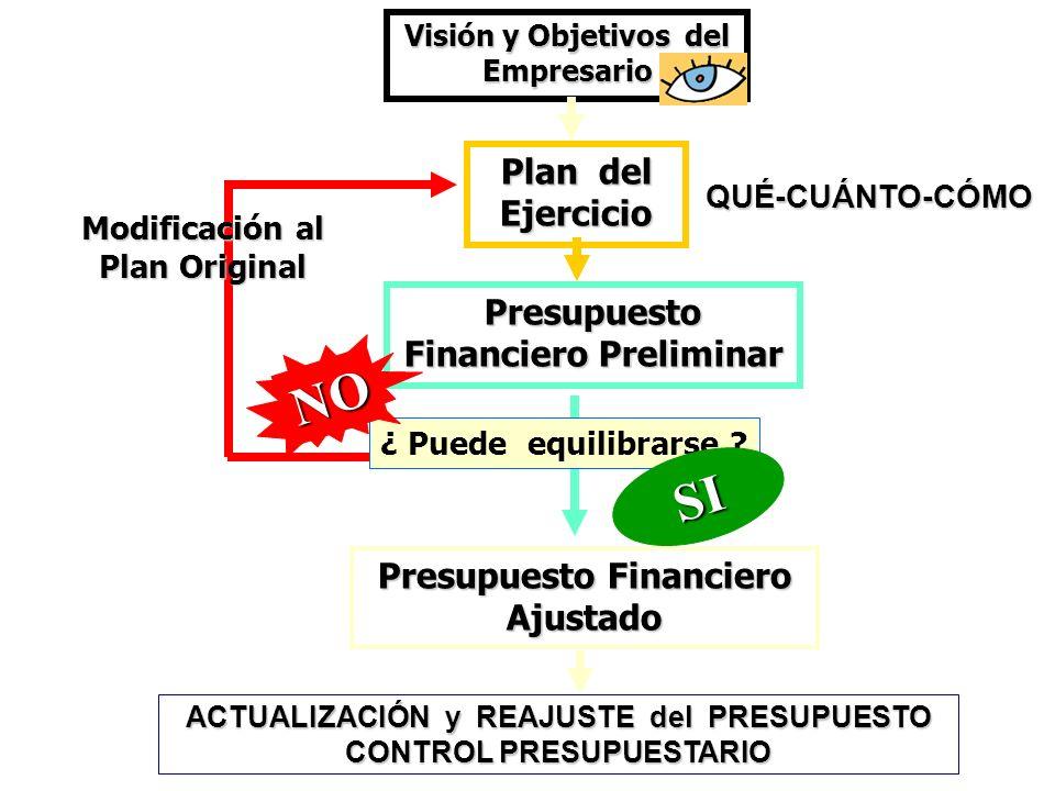 Plan no realizable ¿ Puede equilibrarse ? Presupuesto Financiero Preliminar Visión y Objetivos del Empresario Plan del Ejercicio NO ACTUALIZACIÓN y RE