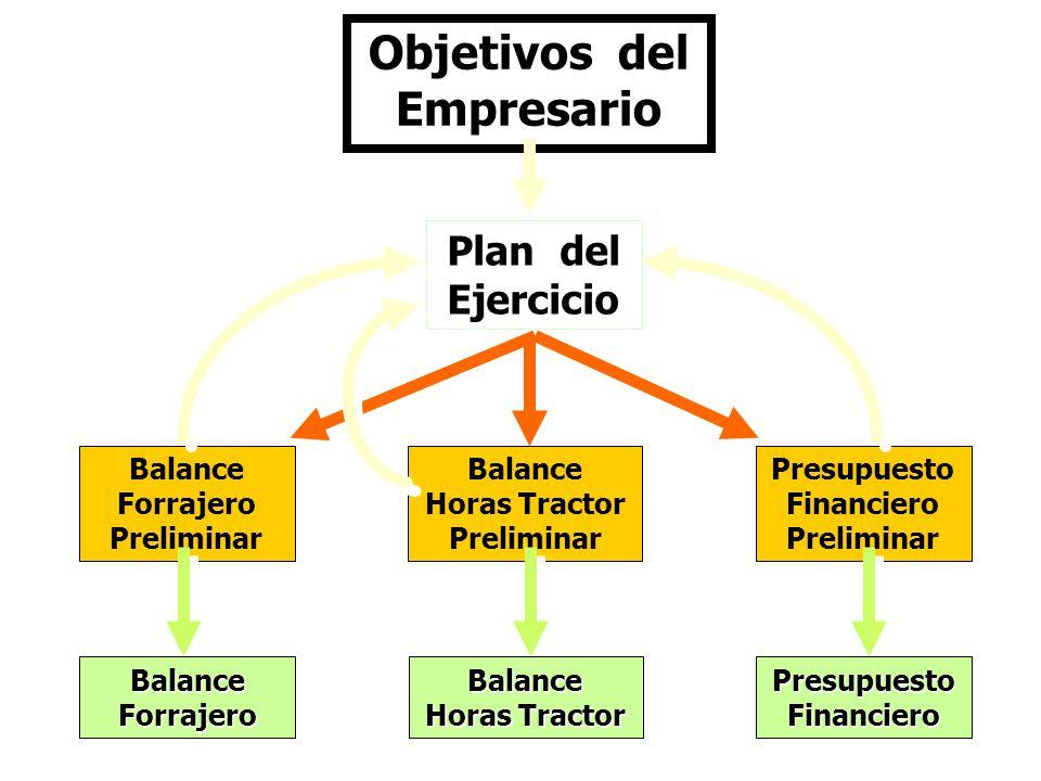 Objetivos del Empresario Plan del Ejercicio Balance Forrajero Preliminar Presupuesto Financiero Preliminar Balance Horas Tractor Preliminar Balance Ho