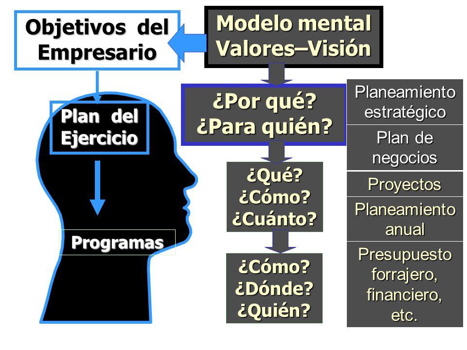 Empresario Plan del Ejercicio Modelo mental Valores–Visión Programas ¿Por qué? ¿Para quién? Planeamiento estratégico Plan de negocios ¿Qué? ¿Cómo? ¿Cu